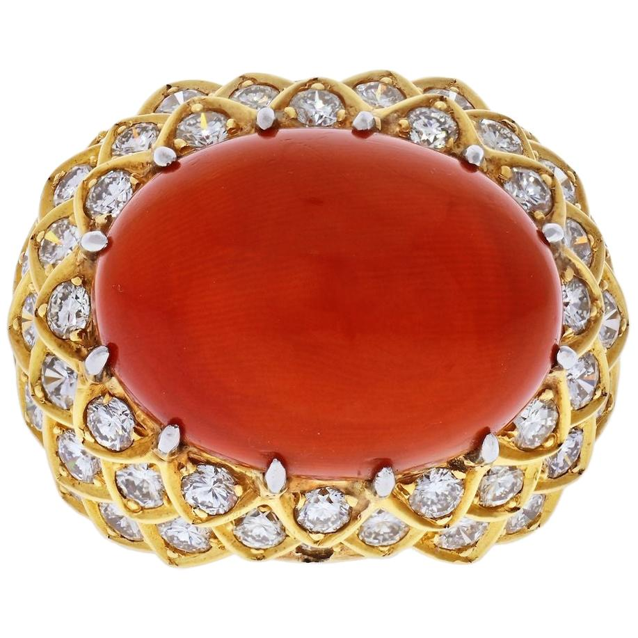 David Webb Platinum and 18 Karat Yellow Gold Oval Coral and Diamond 1970s Ring