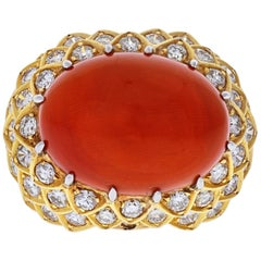 David Webb Platinum and 18 Karat Yellow Gold Oval Coral and Diamond 1970s Ring
