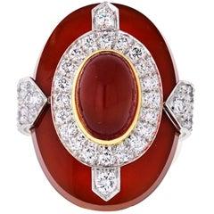 David Webb Platinum and 18 Karat Yellow Gold Oval Cut Carnelian, Diamond Ring