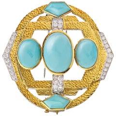 David Webb Platinum and 18 Karat Yellow Gold Turquoise Diamonds, Hammered Brooch