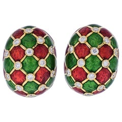 David Webb Platinum and 18K Gold Checkerboard Green, Red Enamel Diamond Earrings