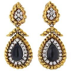 David Webb Platinum and 18K Gold Onyx and Diamond Teardrop Dangle Drop Earrings