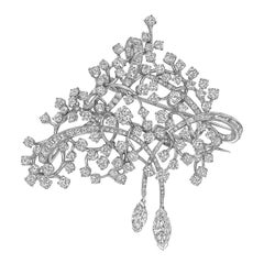 David Webb Platinum and Diamond Twig Brooch