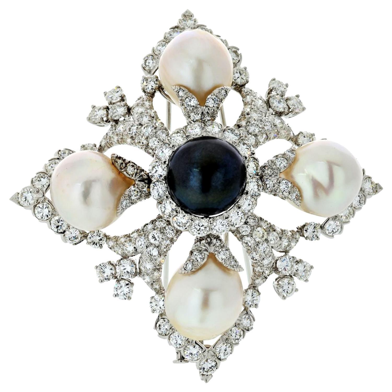 David Webb Platinum Diamond and Pearl Maltese Cross Pendant Brooch