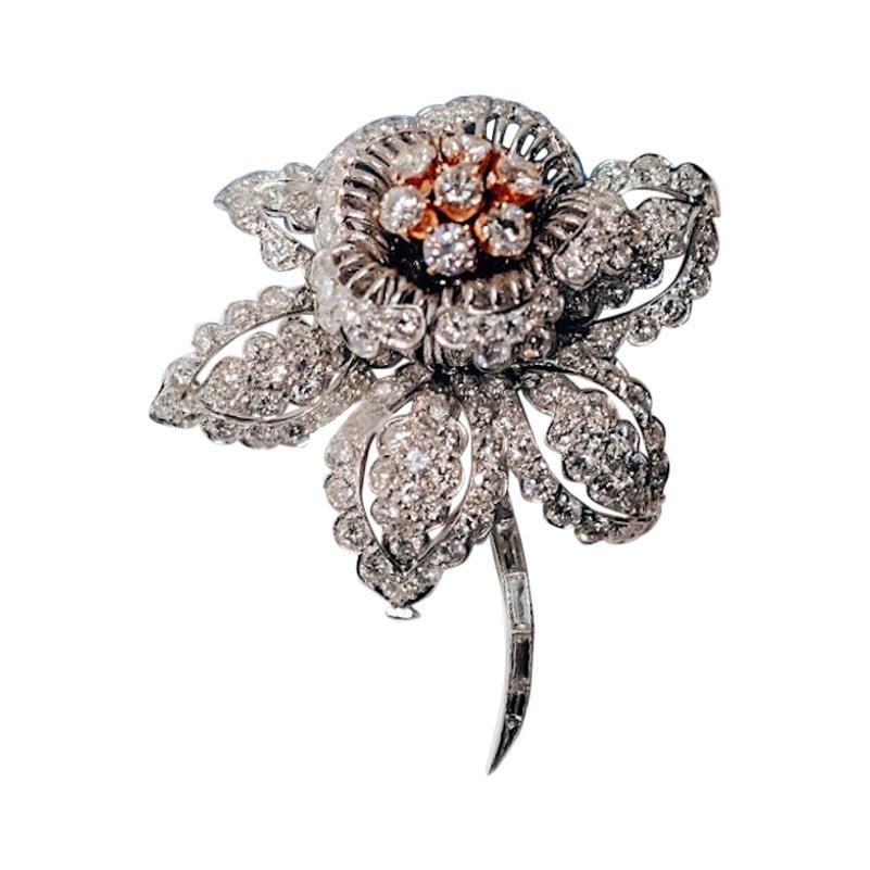 David Webb Platinum Diamond Flower Brooch