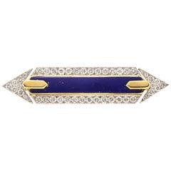 David Webb Platinum Diamond Lapis Lazuli Pin Brooch Gold