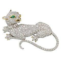 David Webb Platinum Diamond Panther Pin Brooch