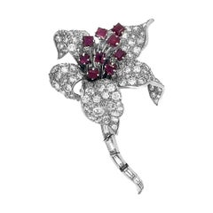 David Webb Platinum Flower Diamond Ruby Brooch