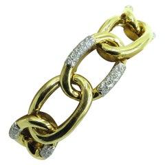 David Webb Platinum, Gold and Diamond Link Bracelet
