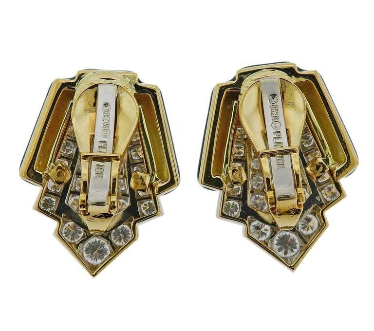 David Webb Platinum Gold Diamond Enamel Earrings In Excellent Condition For Sale In Boca Raton, FL