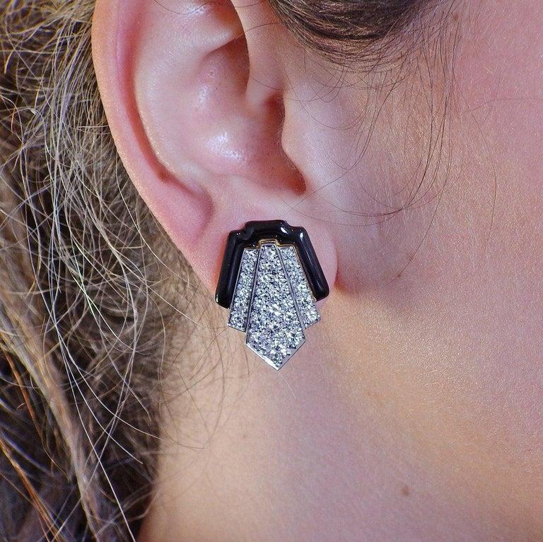 David Webb Platinum Gold Diamond Enamel Earrings For Sale 1
