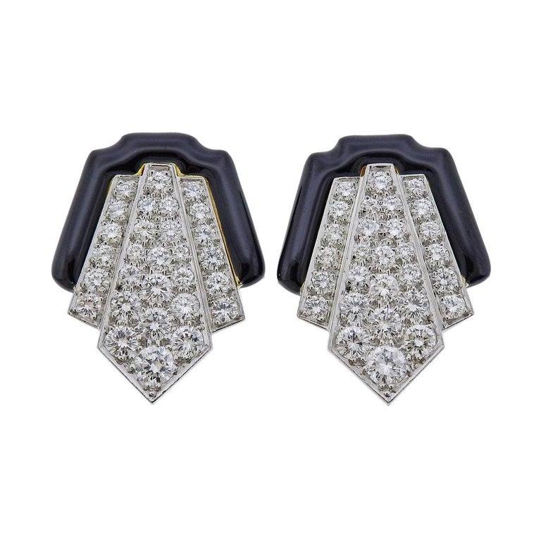 David Webb Platinum Gold Diamond Enamel Earrings For Sale