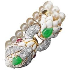 David Webb Platinum Gold Diamond Jade Ruby Pearl and Enamel Bracelet