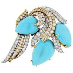 David Webb Platinum, Gold, Turquoise, Diamond Brooch