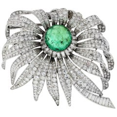 David Webb Platinum Green Emerald and Diamond Flower Brooch