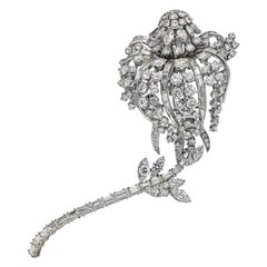 David Webb Platinum Long Stemmed Diamond Flower Brooch/Pin
