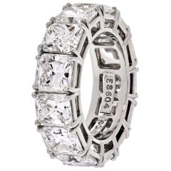 David Webb Platinum Radiant Cut Diamond 12.92 Carat Eternity Band