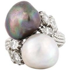 David Webb Platinum South Sea Pearl Diamond Ring