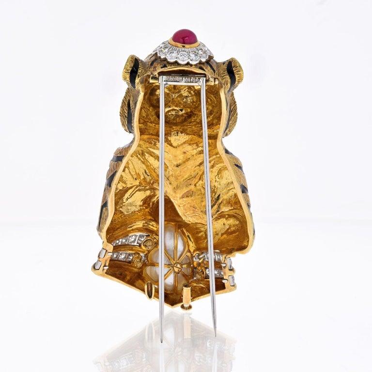 Modern David Webb Platinum &18k Gold Black Striped Tiger with Emerald Ruby Pearl Brooch For Sale