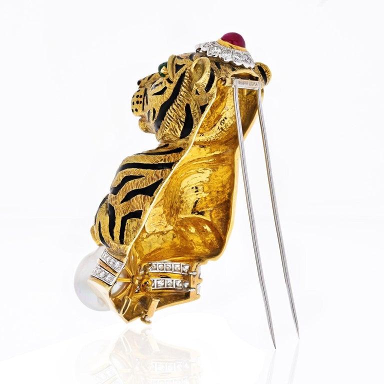 Emerald Cut David Webb Platinum &18k Gold Black Striped Tiger with Emerald Ruby Pearl Brooch For Sale