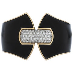 David Webb Princess Lilian Diamond and Black Enamel Cuff Bracelet in 18ky Gold
