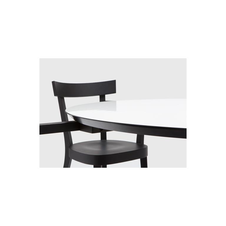 Modern Established & Sons White Floating Table with Four Black Chairs by Ingo Maurer  For Sale