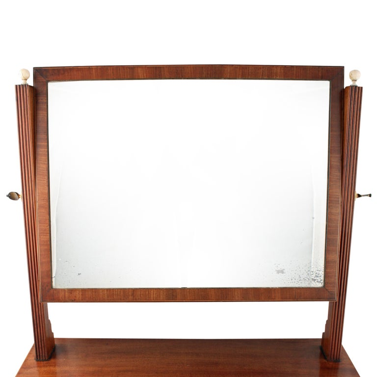British Georgian Bow Fronted Dressing Mirror For Sale