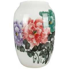Chinese Hand-Painted Floral Porcelain Vase, Chop Mark Signed, 20th Century