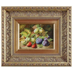 Oil on Board Fruit and Foliate Still Life Painting, Signed P. Rui, 20th Century
