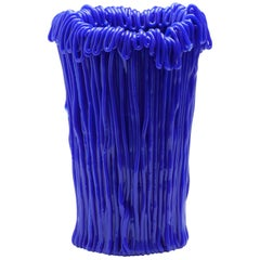 Established & Sons Frillo Vase with Handcrafted Blue Piping by Alessandro Ciffo