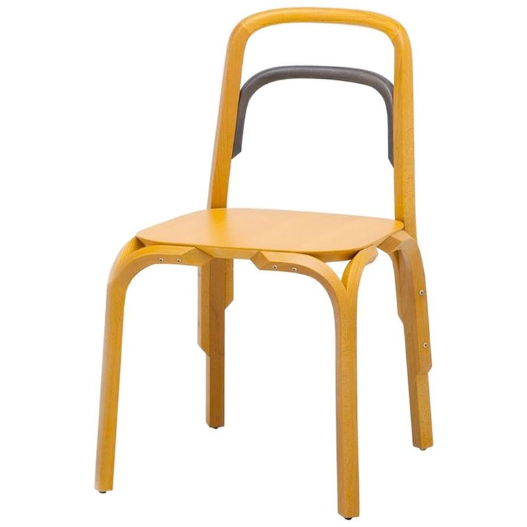 Established & Sons Sessel Chair in Yellow Beech with Gray Back by Martino Gamper For Sale