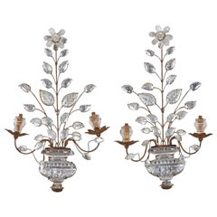 Pair of Maison Baguès Art Deco Crystal Sconces