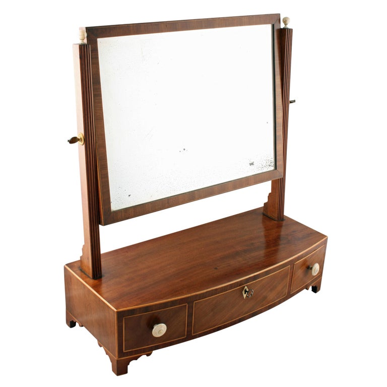 Georgian Bow Fronted Dressing Mirror For Sale
