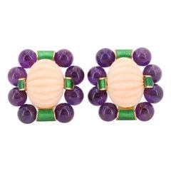 David Webb Purple Amethyst and Enamel 18 Karat Yellow Gold Coral Earrings
