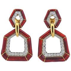 David Webb Red Enamel Diamond Gold Platinum Bamboo Doorknocker Earrings