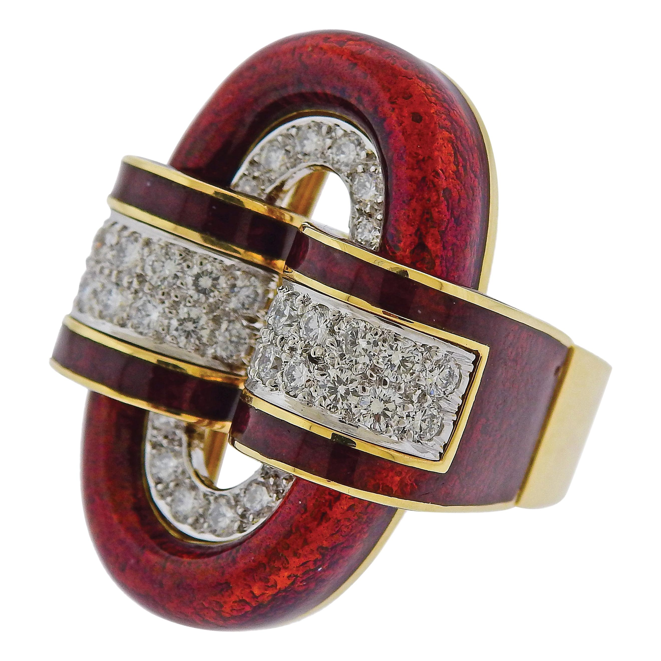 David Webb Red Enamel Diamond Gold Platinum Oval Buckle Ring