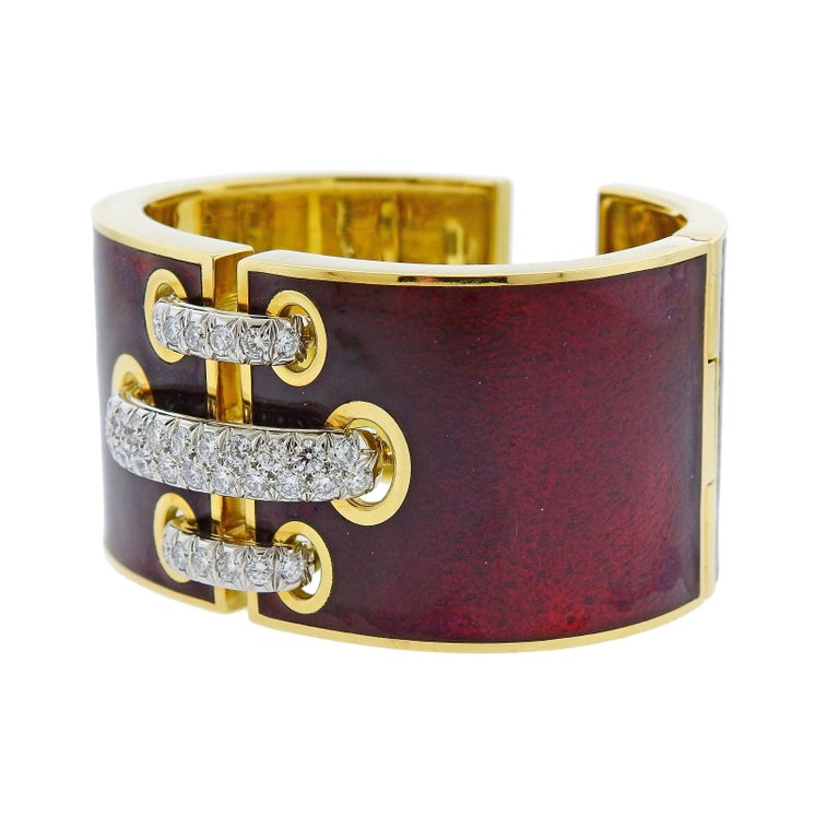 Amazing 18k gold platinum enamel cuff bracelet crafted by David Webb. Features 3.30ctw of H/VS diamonds. Comes with David Webb pouch. Retail $58000. Bracelet will fit up to 7