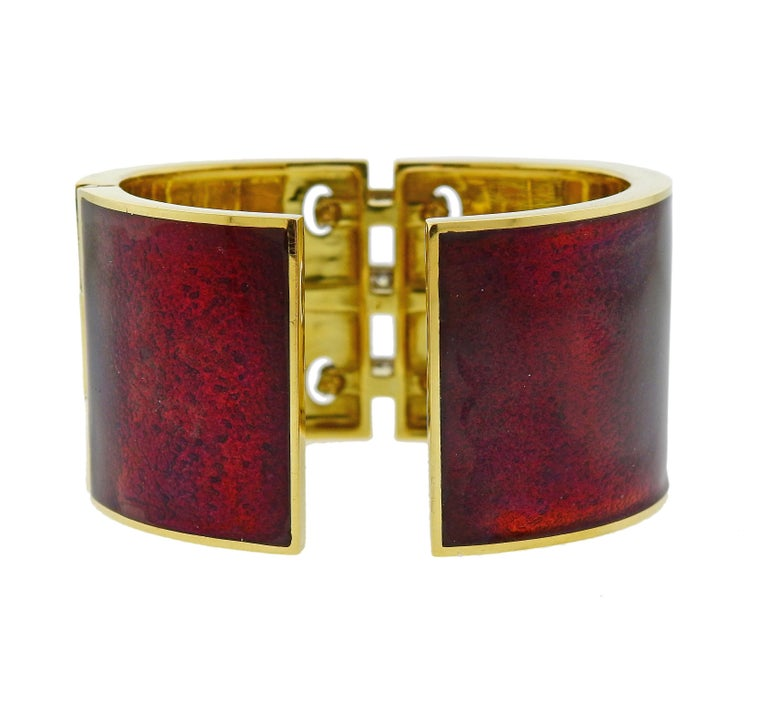 David Webb Red Enamel Diamond Gold Platinum Shoelace Cuff Bracelet In Excellent Condition For Sale In Lahaska, PA