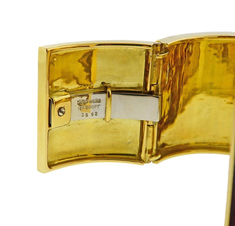 Women's David Webb Red Enamel Diamond Gold Platinum Shoelace Cuff Bracelet For Sale