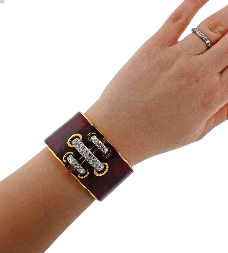 David Webb Red Enamel Diamond Gold Platinum Shoelace Cuff Bracelet For Sale 1