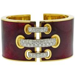 David Webb Red Enamel Diamond Gold Platinum Shoelace Cuff Bracelet