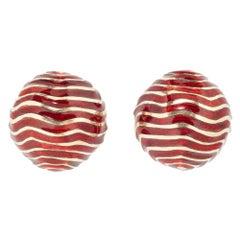 David Webb Red Enamel Dome Earrings