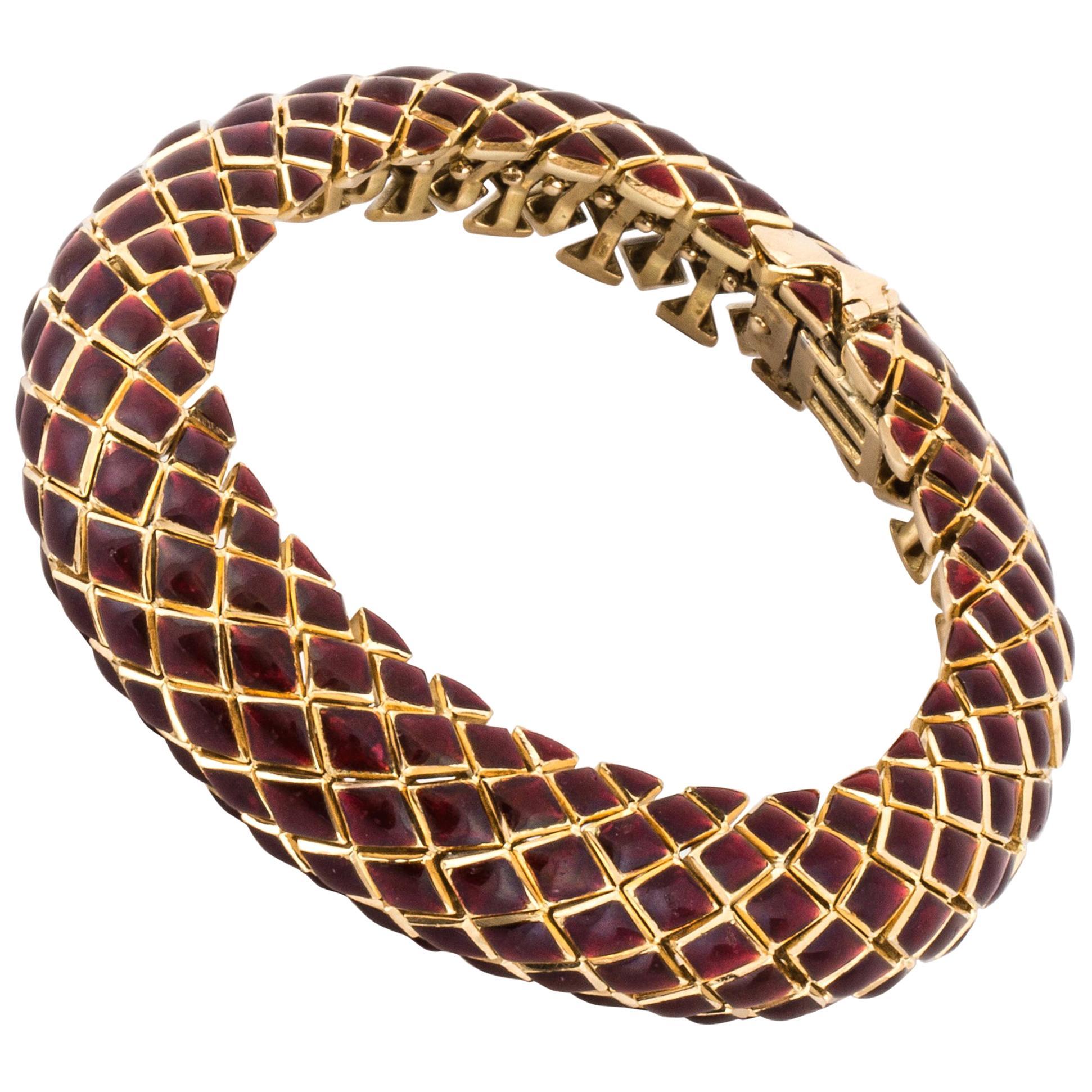 David Webb 18K Yellow Gold Red Enamel Bracelet