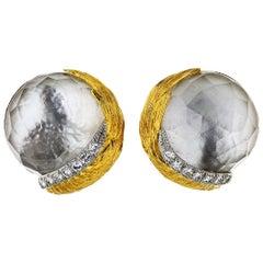 David Webb Rock Crystal and Diamond Clip-On Earrings