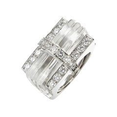 David Webb Rock Crystal and Diamond 'Tuxedo' Ring