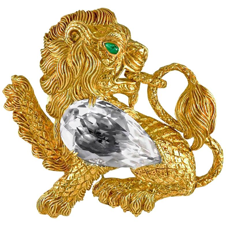 David Webb Kingdom Lion Rock Crystal Emerald Brooch