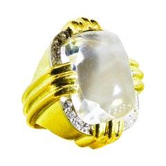 David Webb Rock Crystal, Diamond and 18k, Platinum Ring, Vintage, circa 1960