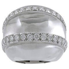 David Webb Rock Crystal Diamond Bombe Ring
