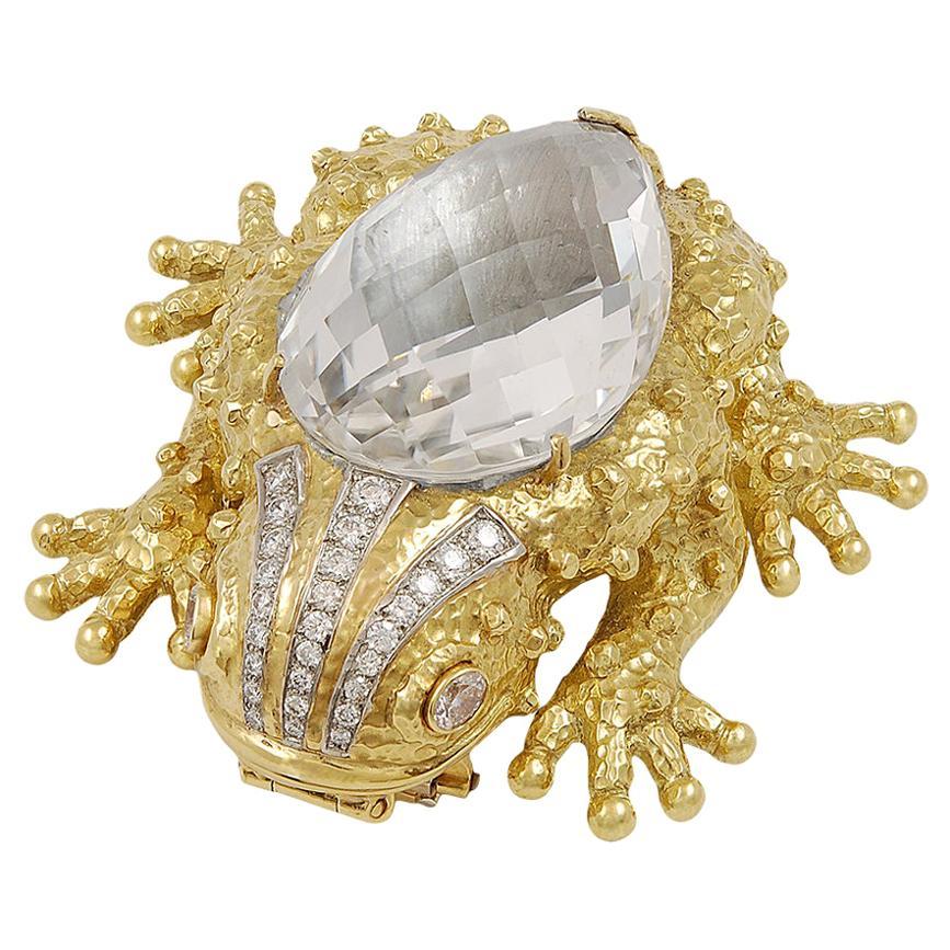 David Webb Rock Crystal Diamond Frog Brooch