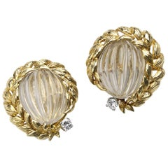 David Webb Rock Crystal Diamond Gold Earrings